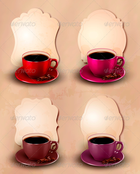 Set of coffee design template. Vector. - Food Objects