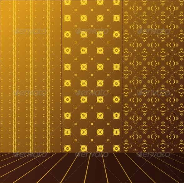Golden Room with set seamless and wooden floor - Patterns Decorative