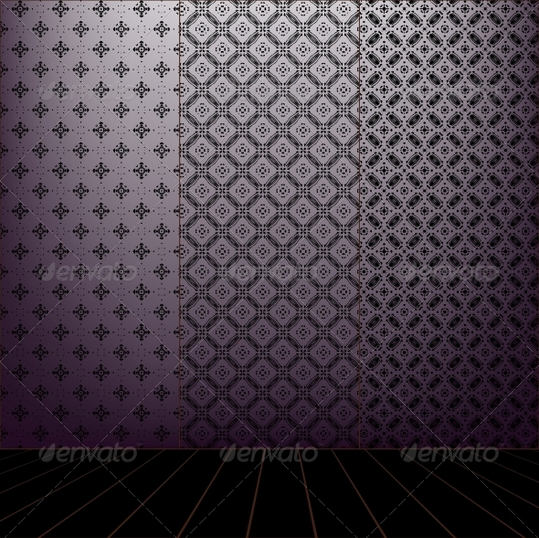 Lilac Room with set seamless and wooden floor - Patterns Decorative