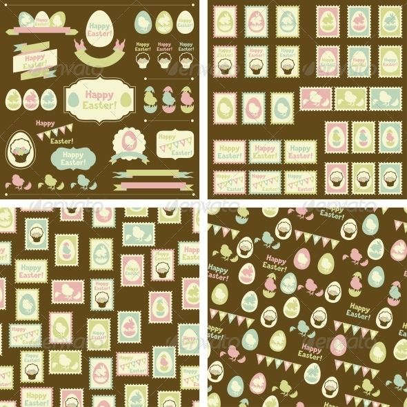Set of Happy Easter Decorative Elements - Backgrounds Decorative