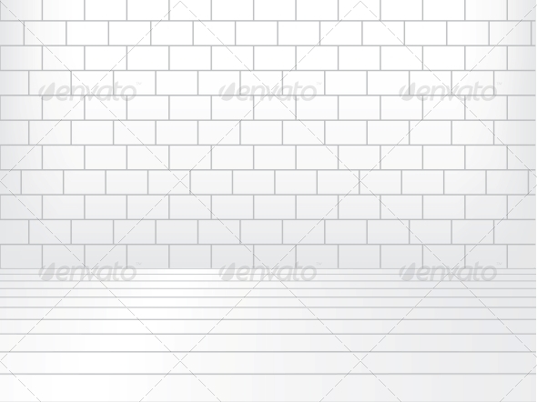 White room with brick wall and wooden floor - Buildings Objects