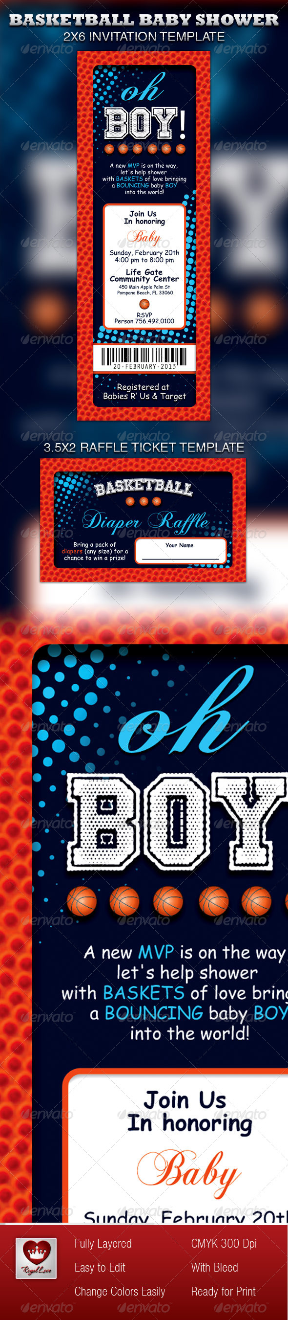 Basketball Baby Shower Invitation & Raffle Ticket - Invitations Cards & Invites