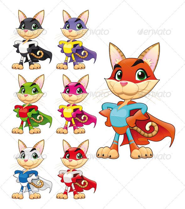 Funny cat super hero. - Animals Characters