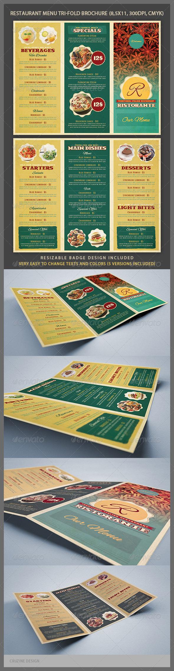Restaurant Menu Tri-fold Brochure - Brochures Print Templates