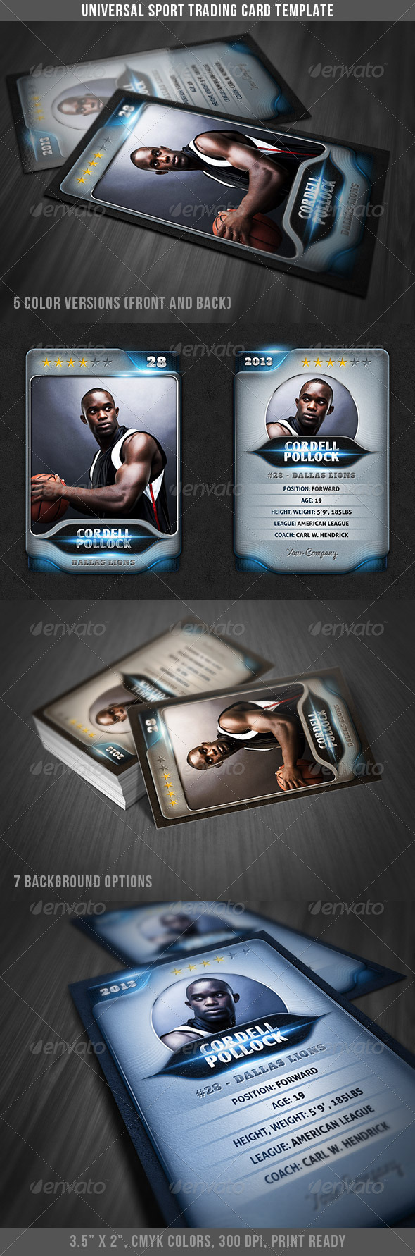 Universal Sport Trading Card - Miscellaneous Print Templates