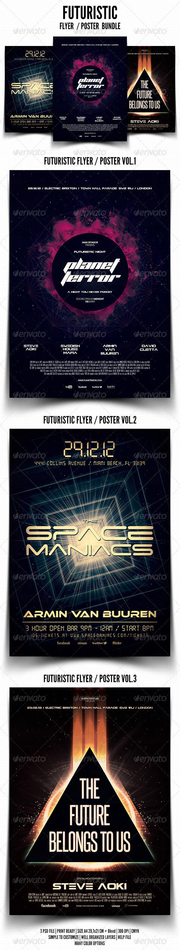 Futuristic Flyer / Poster Bundle - Events Flyers