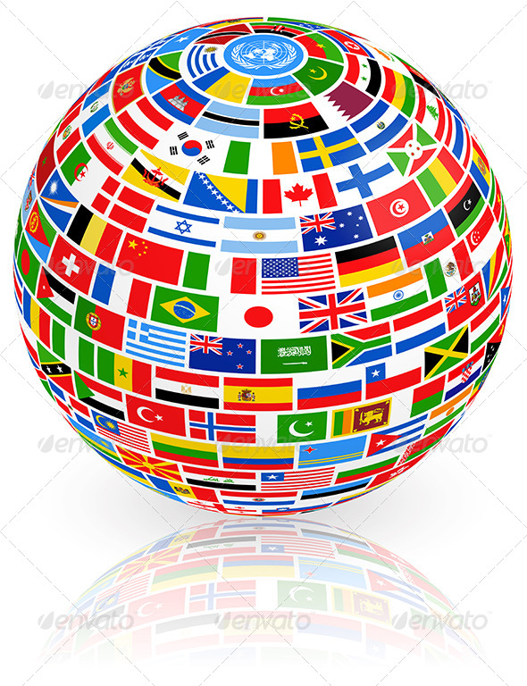 Big Vector globe composed of world nations Flags - Miscellaneous Conceptual