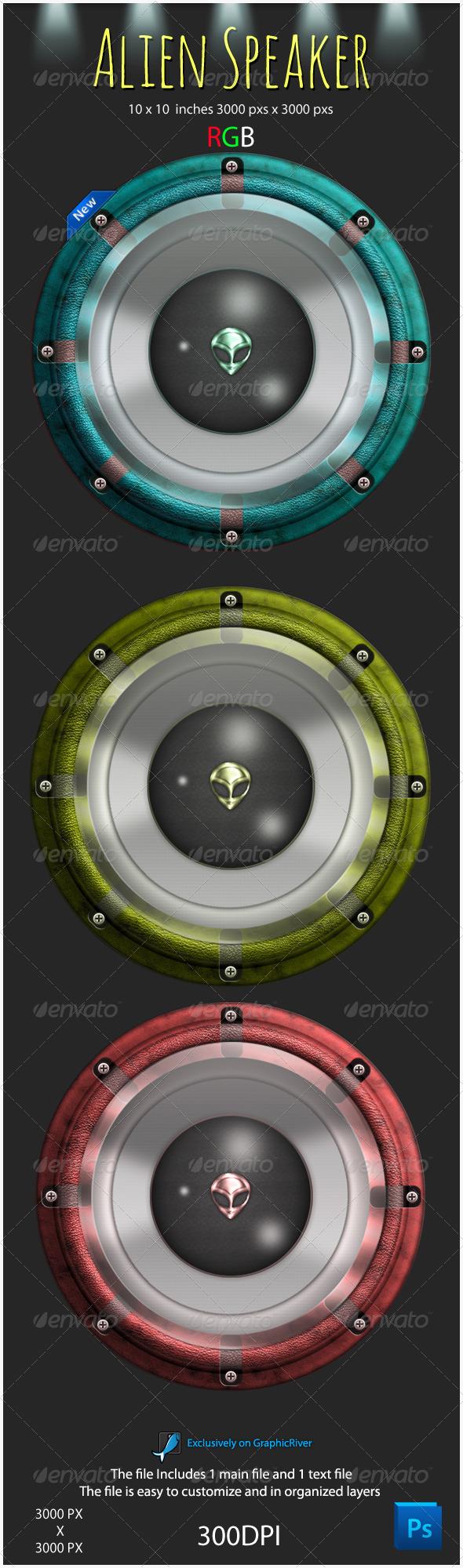 Alien Speaker Graphic - Objects Illustrations