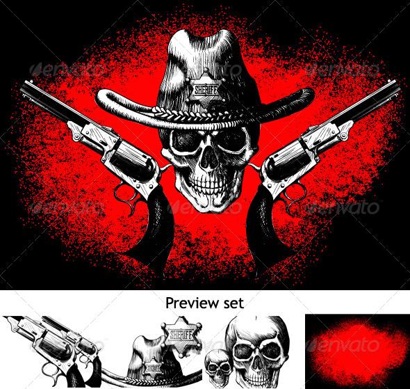 Skull with Revolver - Tattoos Vectors