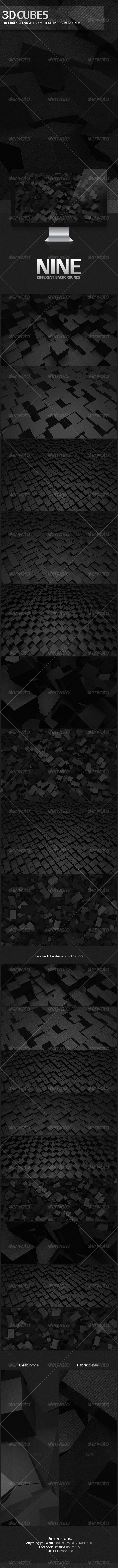 3D Cubes Clean & Fabric Texture Backgrounds - 3D Backgrounds