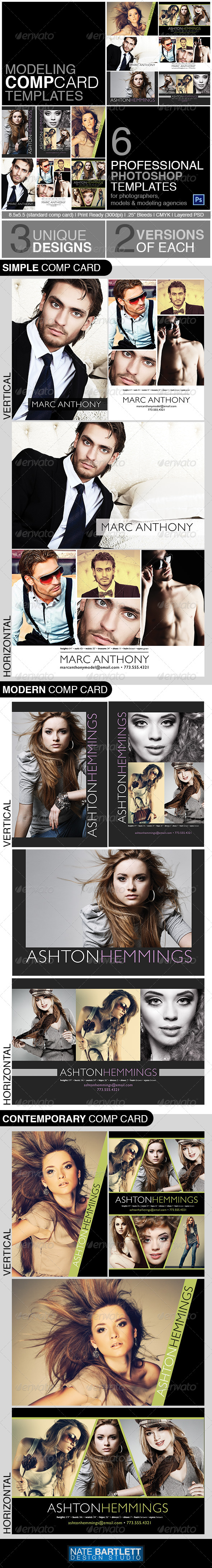 Model Comp Card Template Kit By Natedilli GraphicRiver - Model comp card template