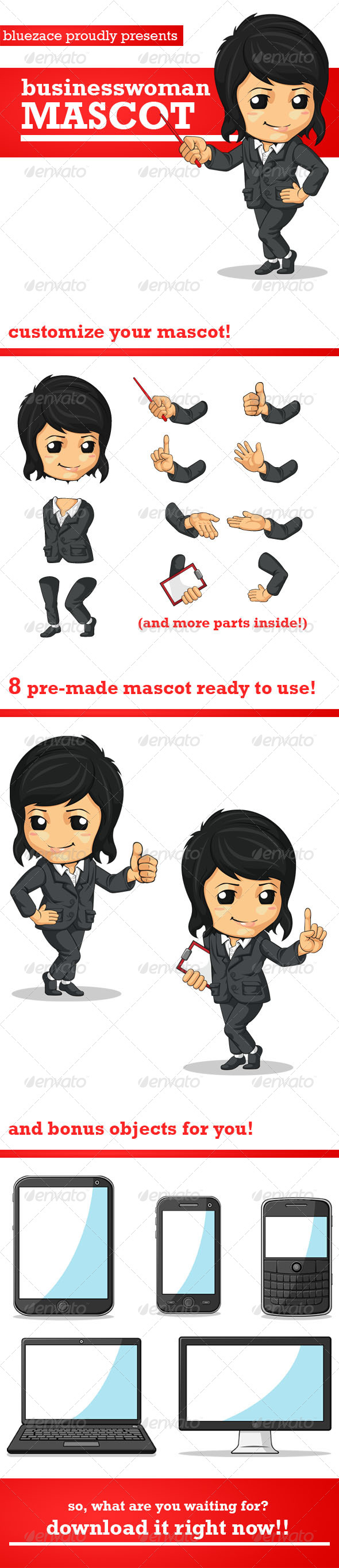 Business Woman Mascot - People Characters