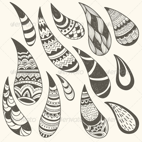 Vector Paisley Design Elements - Decorative Symbols Decorative