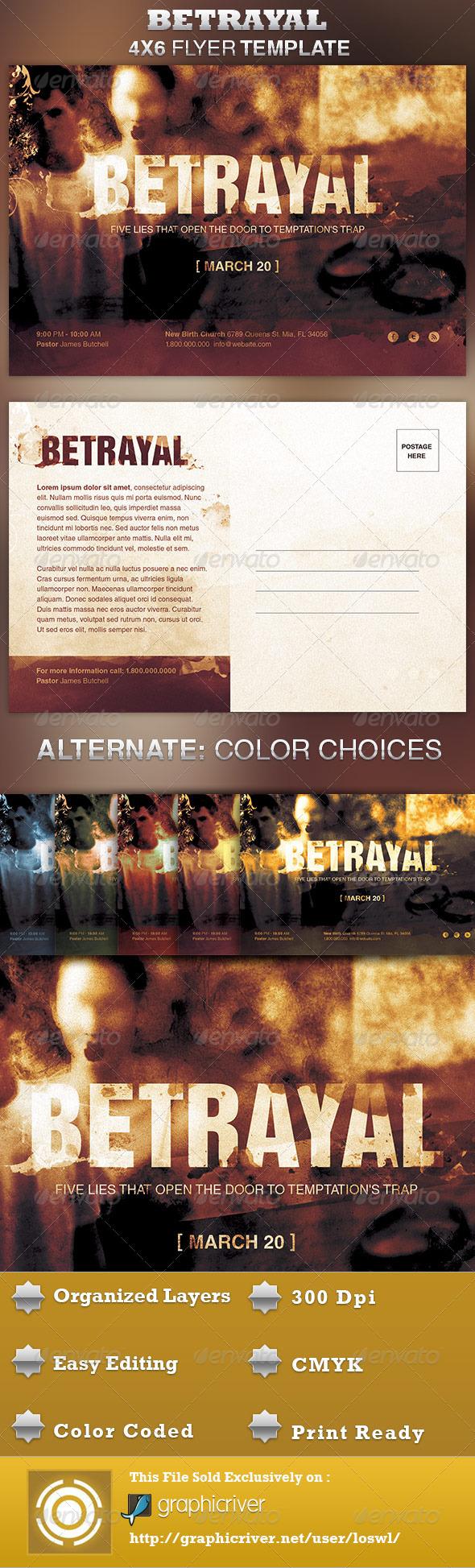 Betrayal Church Flyer Template - Church Flyers