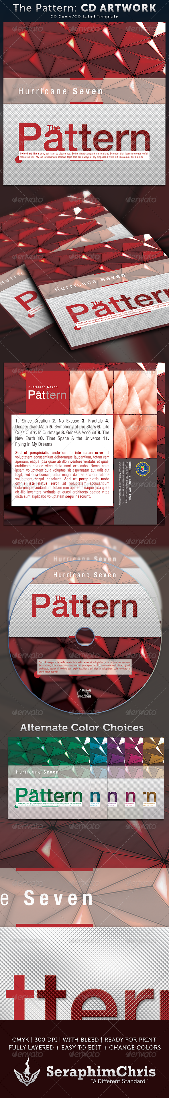 The Pattern CD Cover Artwork Template - CD & DVD Artwork Print Templates