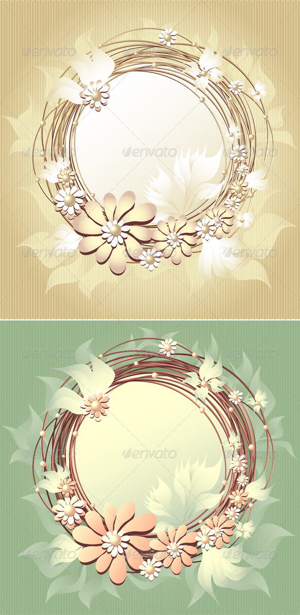 Scrapbooking Floral Frame with Flowers and Pearls - Decorative Vectors