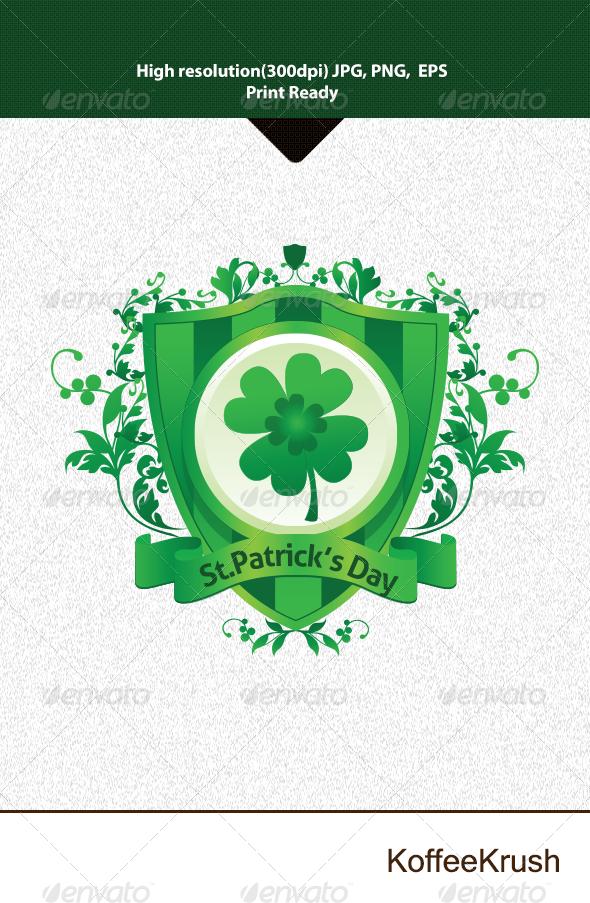 St.Patrick's Day Heraldic Shield Vector