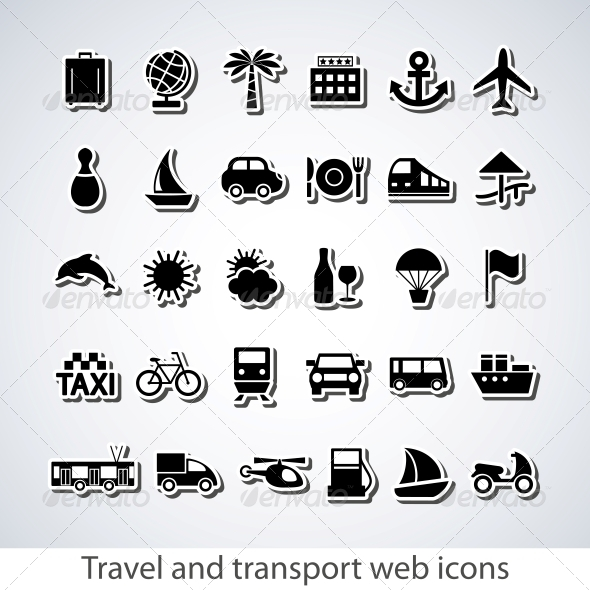 Travel and transport buttons set - Travel Conceptual