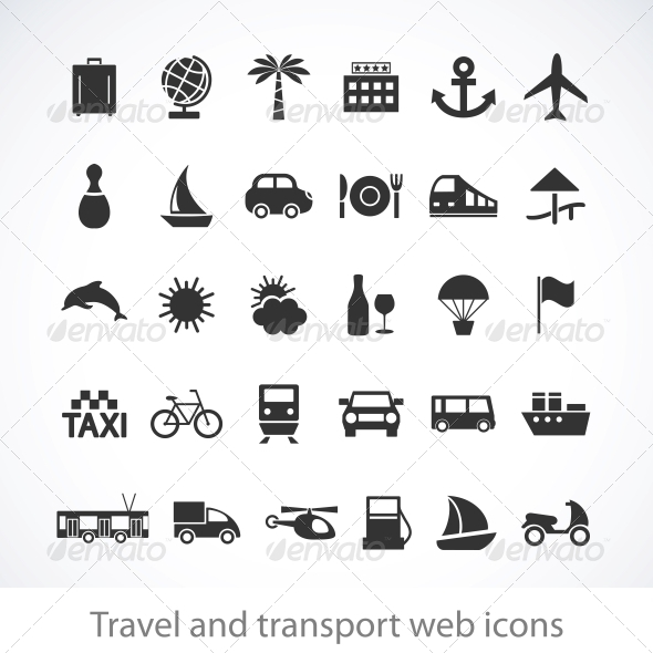 Travel and transport web icons - Travel Conceptual