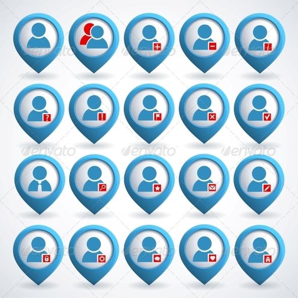 User icons set - Web Technology