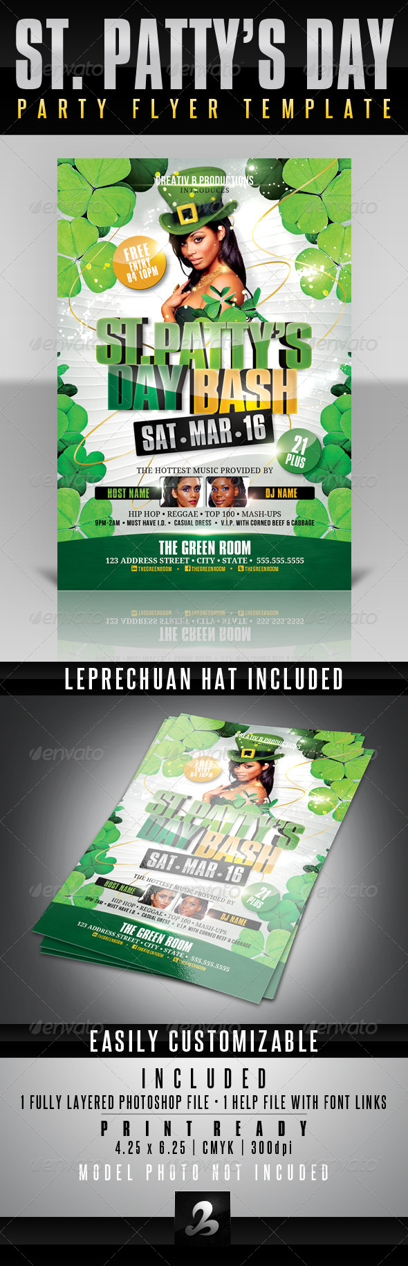St. Patty's Day Bash Flyer Template - Clubs & Parties Events