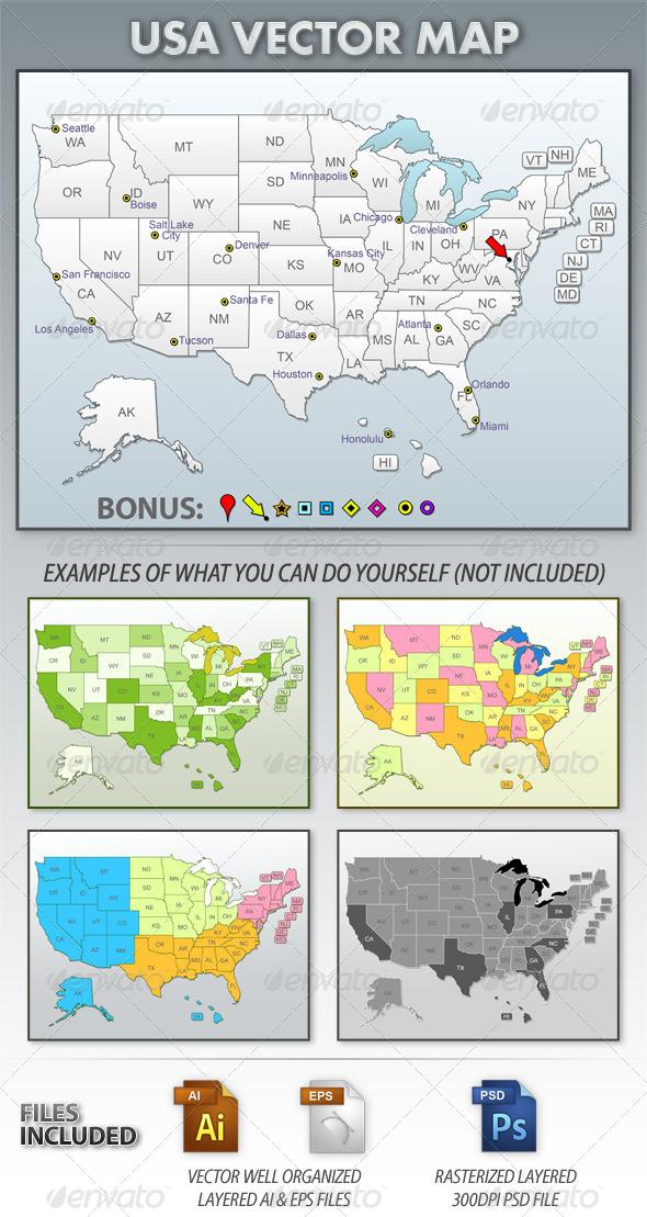 USA Vector Map - Technology Conceptual