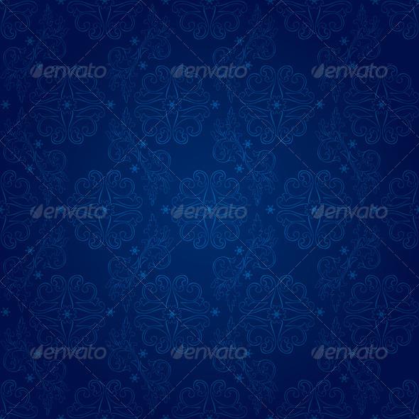 Floral vintage seamless pattern on blue background - Backgrounds Decorative