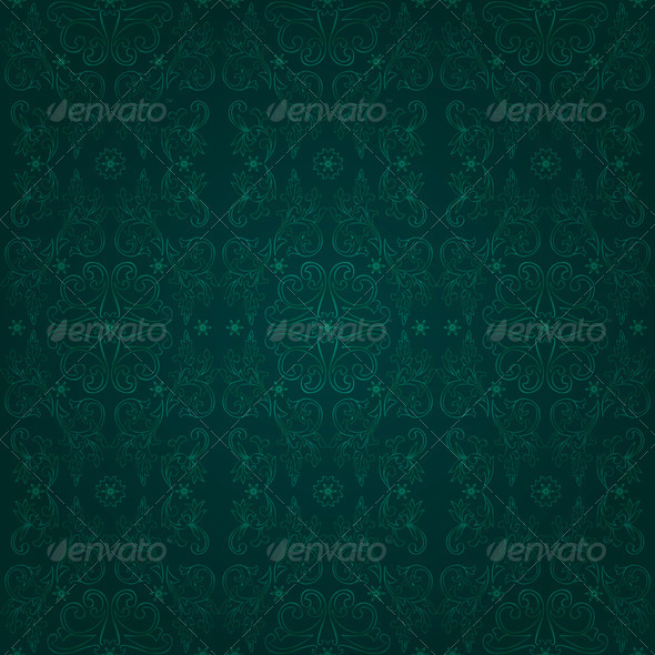 Floral seamless pattern on green background - Backgrounds Decorative