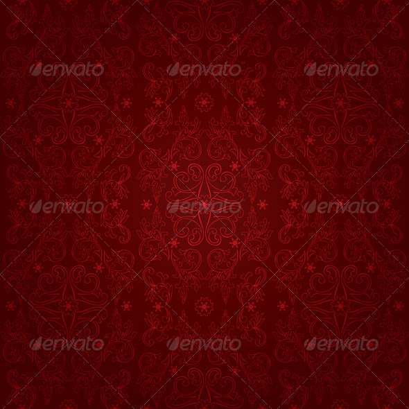 Floral vintage seamless pattern on red background - Backgrounds Decorative