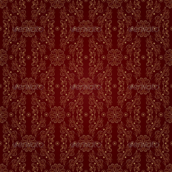 Gold floral seamless pattern on red background - Backgrounds Decorative