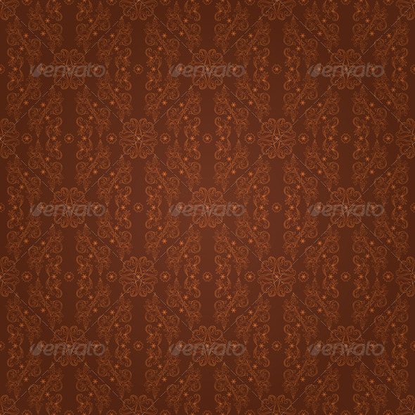 Floral seamless pattern on brown background - Backgrounds Decorative