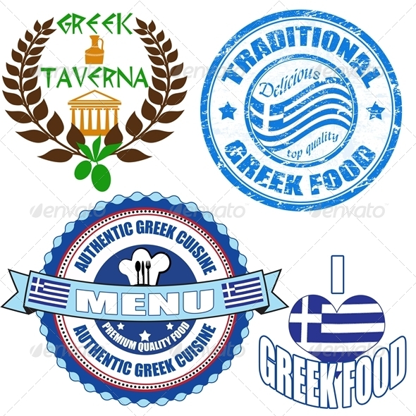 Set of authentic greek food stamp and labels - Food Objects