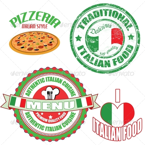 Set of authentic italian food stamp and labels by for Authentic italian cuisine