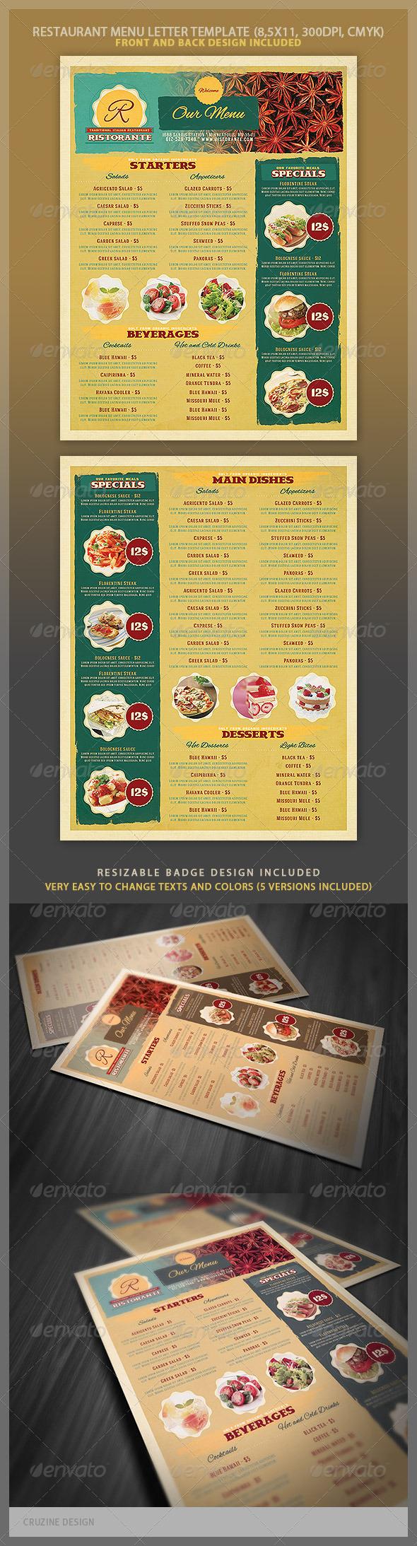Restaurant Menu Template - Food Menus Print Templates