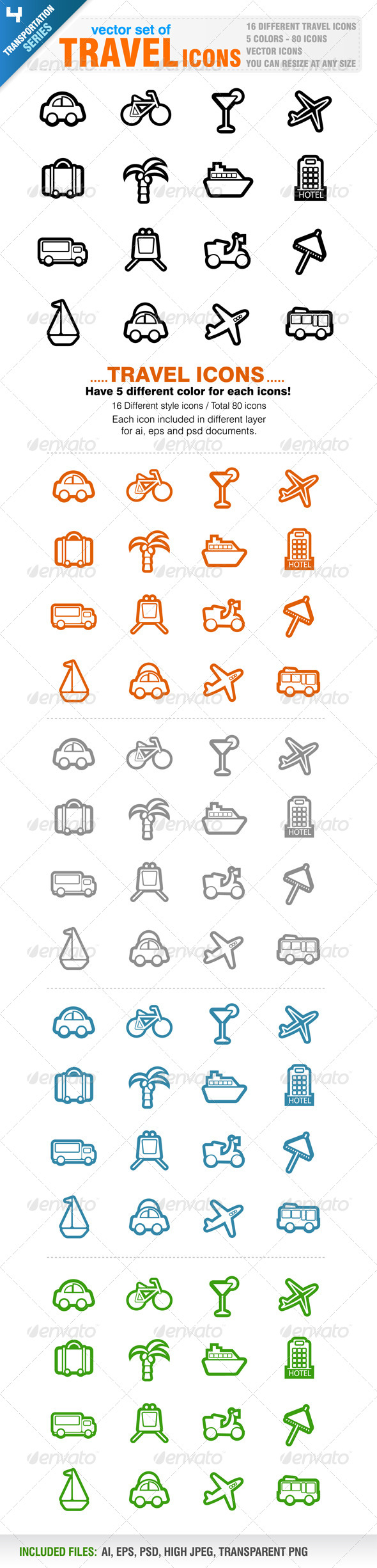 80 Travel icons - Travel Conceptual