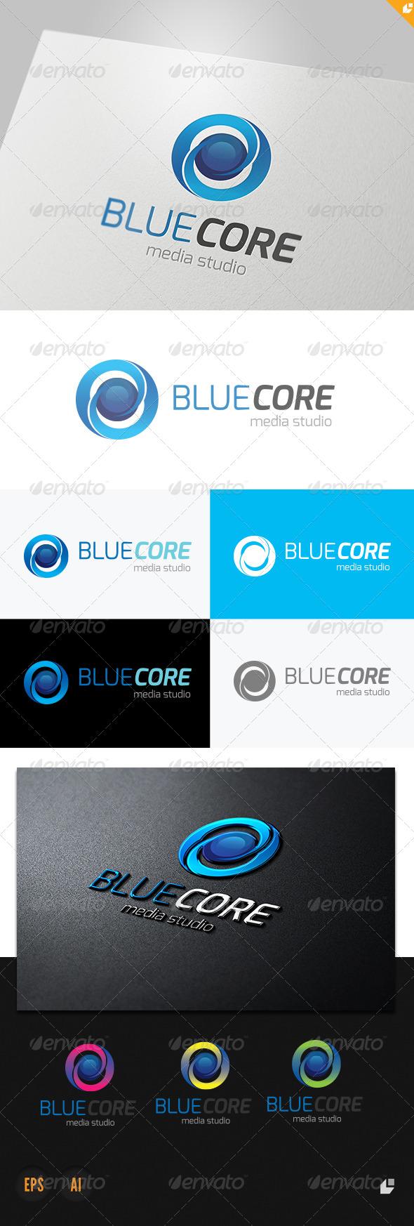 Blue Core Media Studio Logo - 3d Abstract