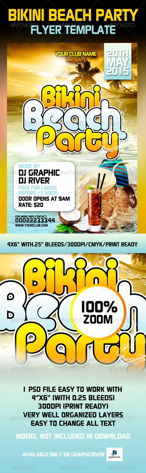 Bikini Beach Party Flyer Template - Clubs & Parties Events