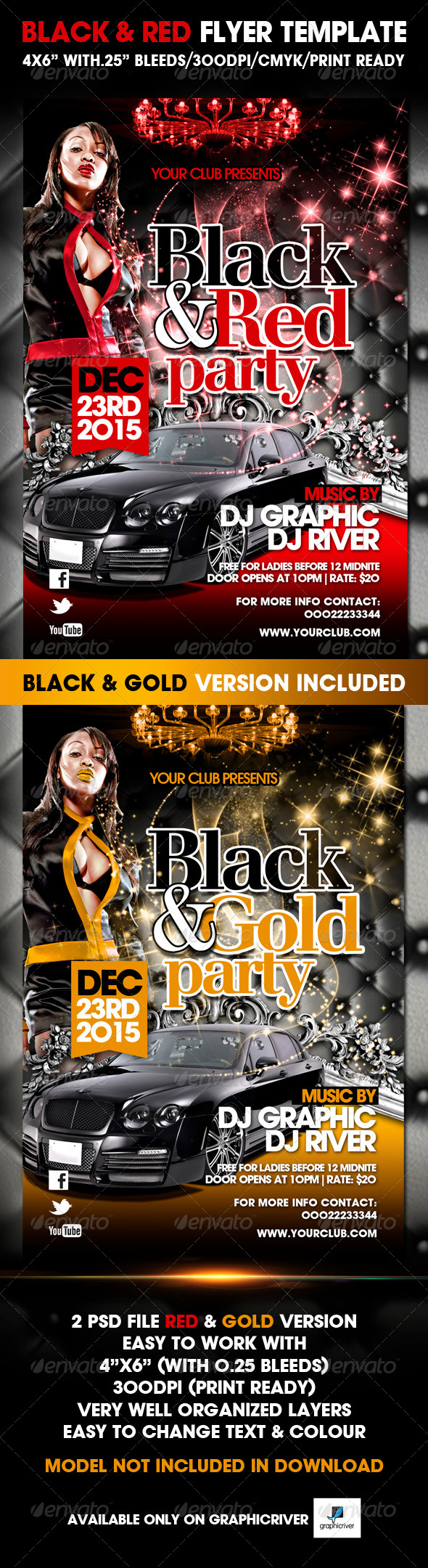 Black and Red Party Flyer Templates - Clubs & Parties Events