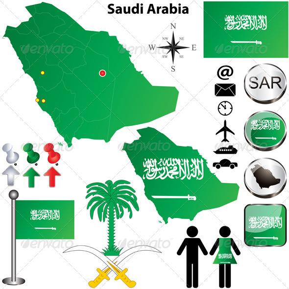 Saudi Arabia map - Travel Conceptual