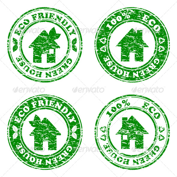Eco Friendly House  Stamps - Buildings Objects