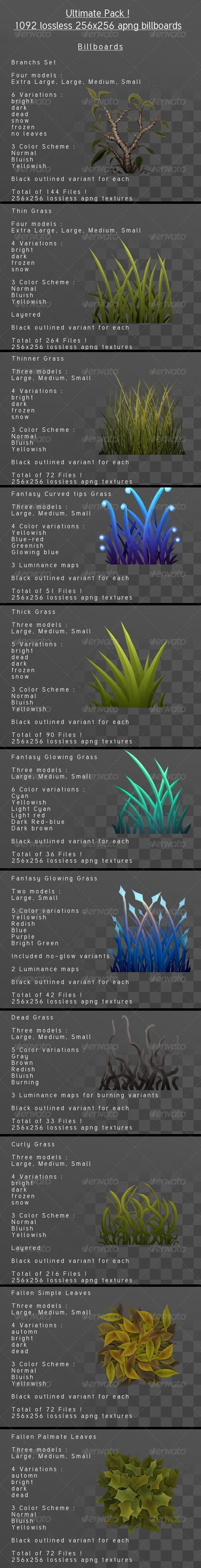 Grass Billboard Ultimate pack - 3DOcean Item for Sale