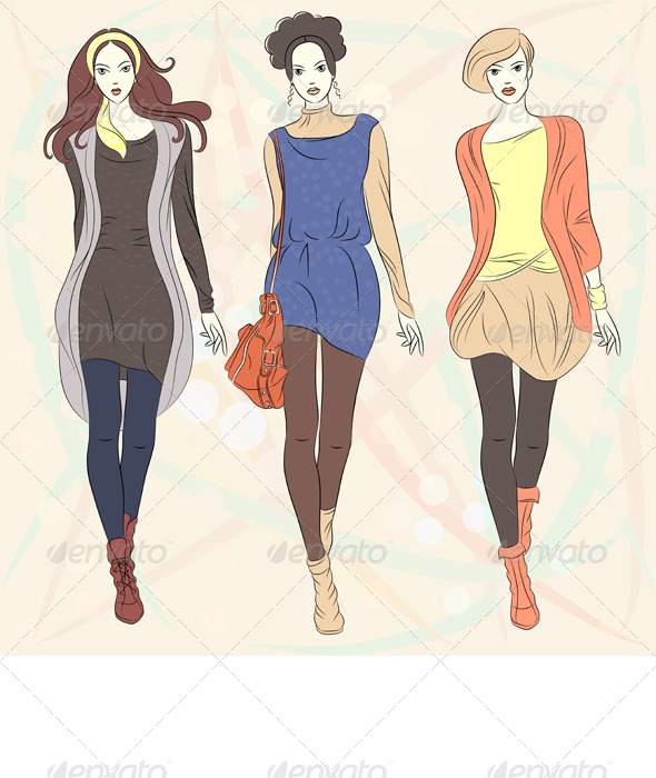 Vector Beautiful Fashion Girls Top Models  - People Characters