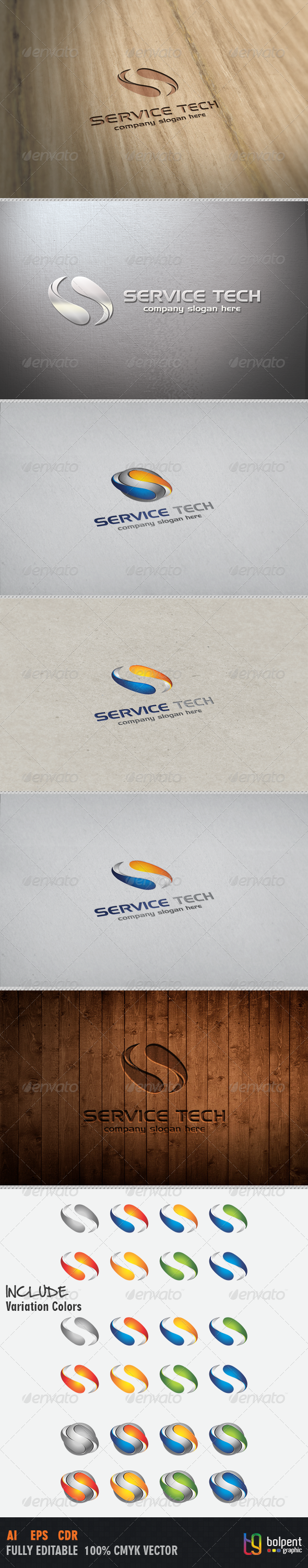 Service Tech Logo Template - 3d Abstract