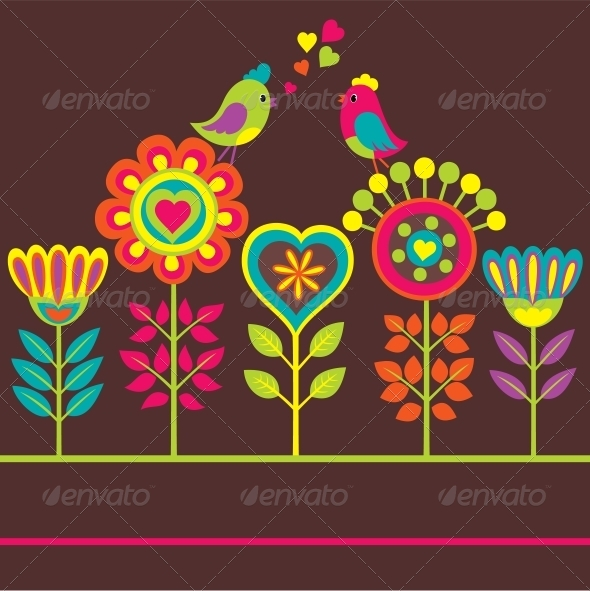 Decorative Colorful Flower Composition - Backgrounds Decorative