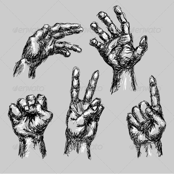 5 Hand Drawn Hands - Miscellaneous Conceptual