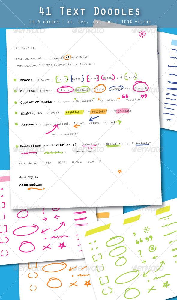 41 Text Doodles - Decorative Vectors