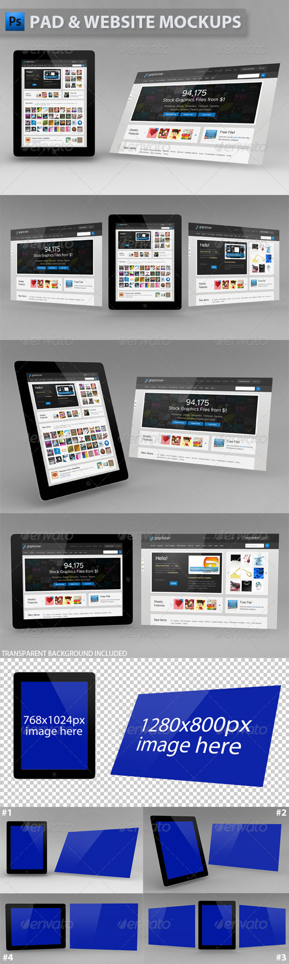 Black Pad and Image Mockups - Multiple Displays