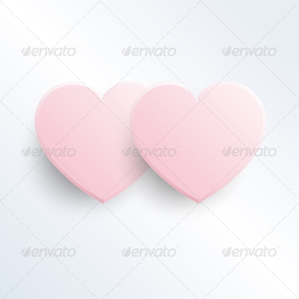 Two Baby Pink Hearts - Valentines Seasons/Holidays