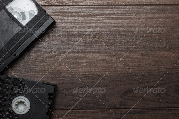 Old Retro Video Tape On Wooden Background - Stock Photo - Images