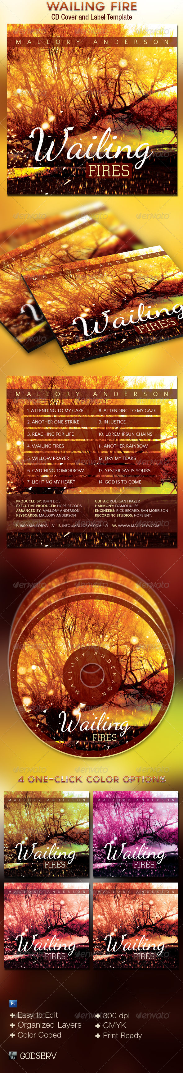 Wailing Fire CD Cover Art Template - CD & DVD Artwork Print Templates